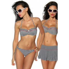 Push-up bikini gestreept zwart-wit